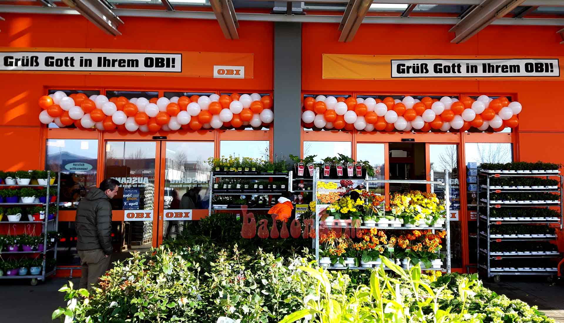 Ballongirlanden für OBI-Markt in Landsberg am Lech