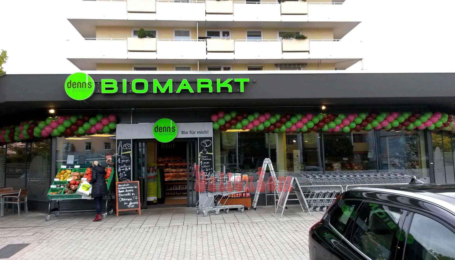 Ballongirlanden für denn´s Biomarkt in Ottobrunn