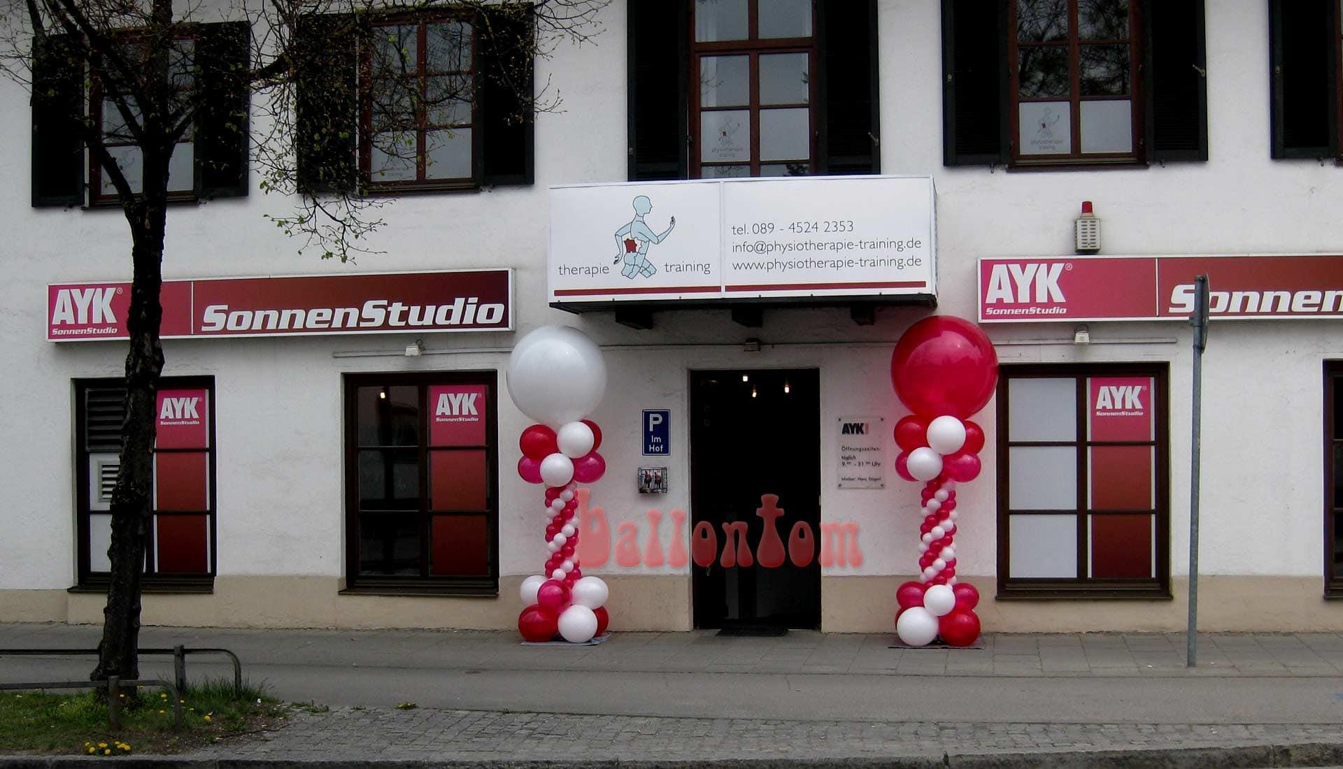 Ballonsäule für ein Sonnenstudio in Taufkirchen