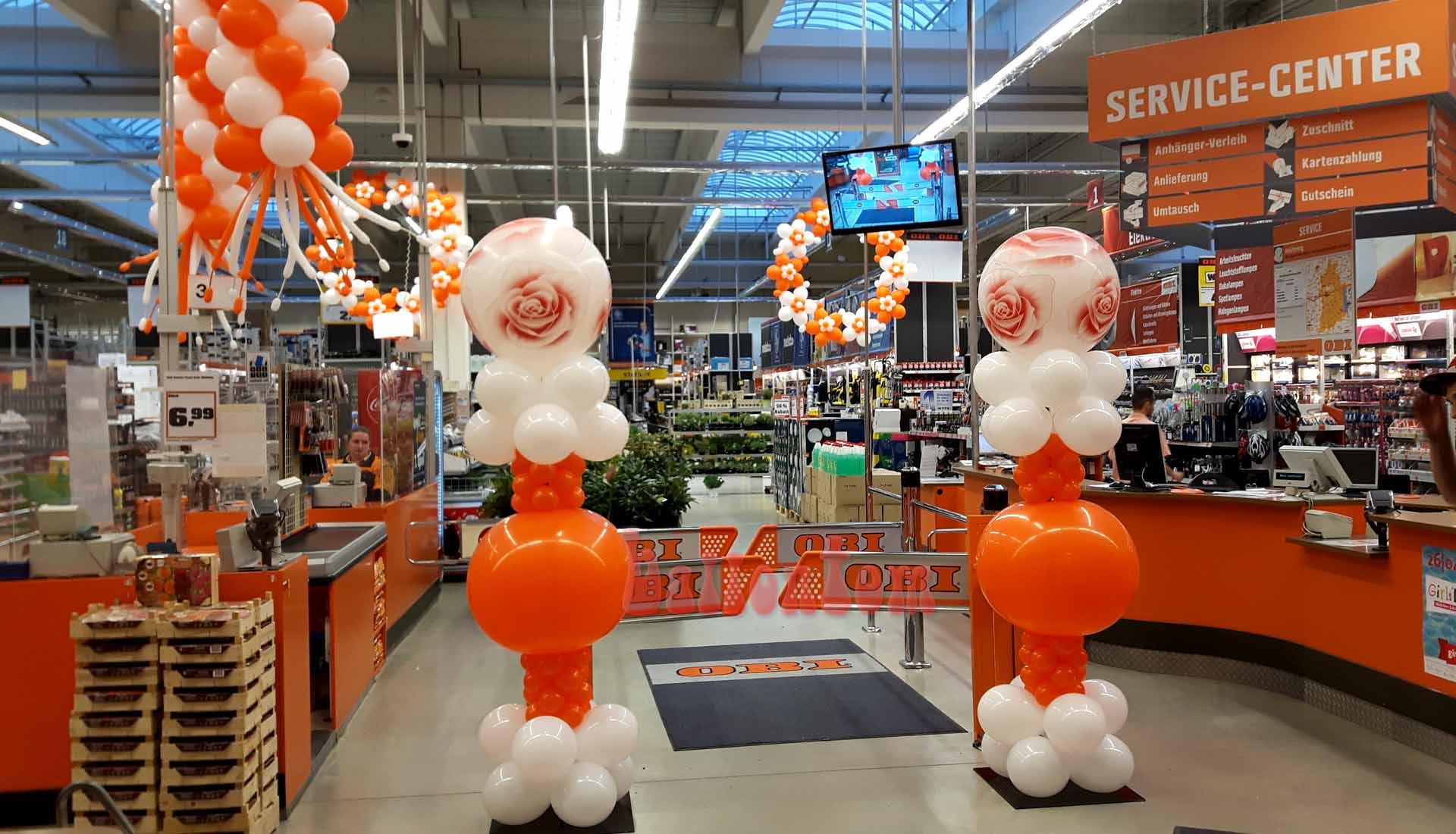 Ballonsäulen für OBI in Landsberg am Lech