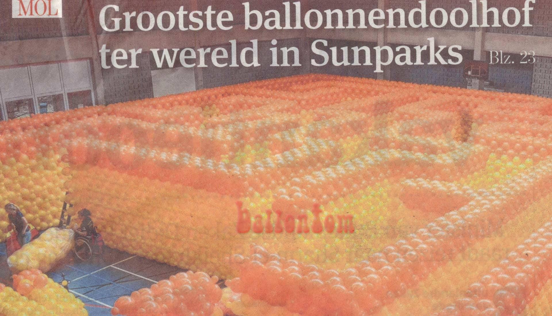 Weltrekord! Größtes Ballonlabyrinth mit über 100.000 Ballons mit ballontom - Medienresonanz Belgien
