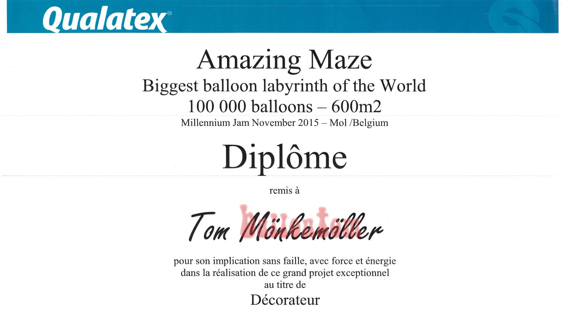 Weltrekord! Größtes Ballonlabyrinth mit über 100.000 Ballons mit ballontom - Auszeichnung für ballontom